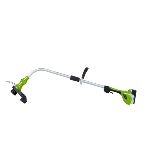 Greenworks 21602 20V Cordless Lithium-Ion 12 in  Curved Shaft Electric  String Trimmer / Edger - Keen Edge Corp